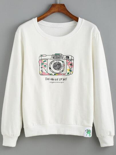 White Round Neck Camera Print Sweatshirt