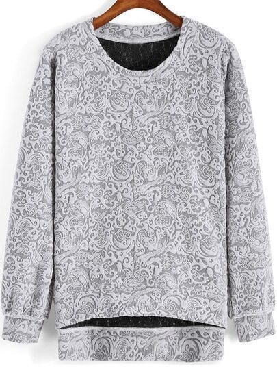 Grey Round Neck Tribal Print Dip Hem Sweatshirt