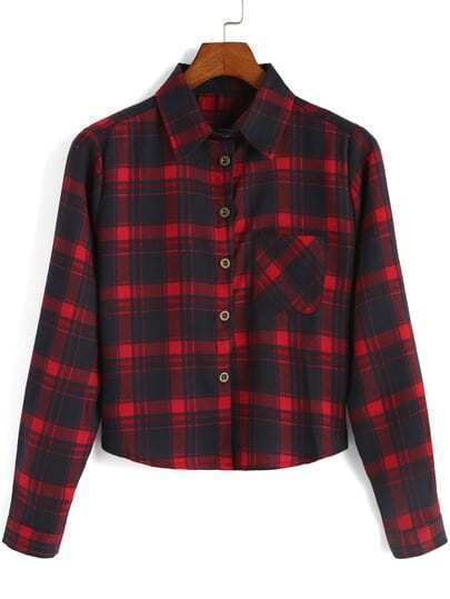 Red Black Lapel Plaid Pocket Crop Blouse
