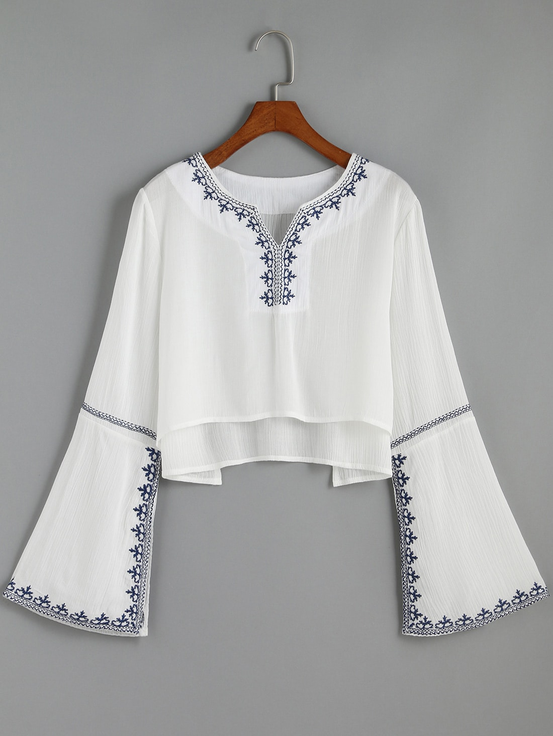 White V Neck Bell Sleeve Embroidered Crop Blouse