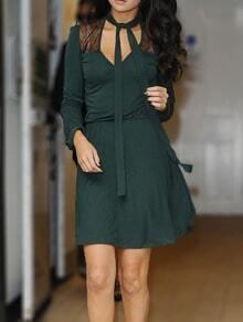 Green Tie-neck Sheer Mesh Shoulder Dress