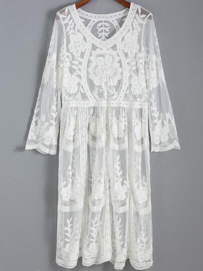 White V Neck Sheer Mesh Embroidered Lace Dress