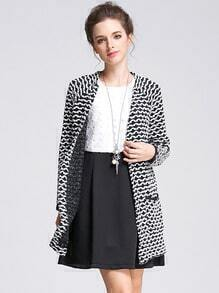 Black White Long Sleeve Striped Pockets Sweater Coat