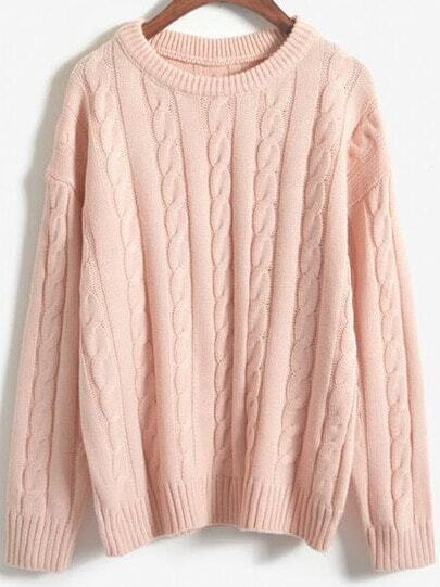Pink Round Neck Vintage Cable Knit Sweater