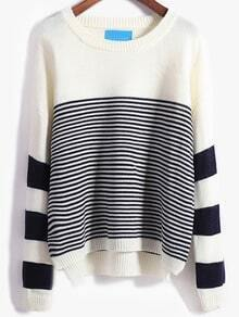 White Blue Round Neck Striped Loose Sweater