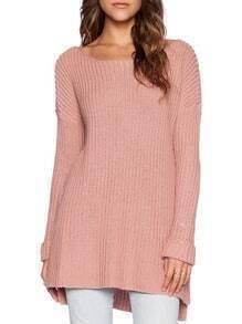 Pink Round Neck Long Sleeve Dip Hem Sweater