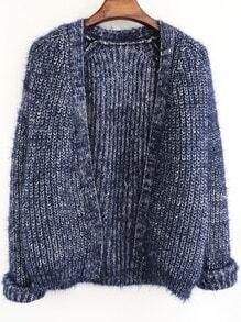 Blue Long Sleeve Shaggy Crop Cardigan
