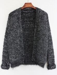 Black Long Sleeve Shaggy Crop Cardigan