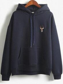 Navy Hooded Deer Embroidered Loose Sweatshirt