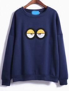 Blue Cartoon Eyes Print Loose Sweatshirt