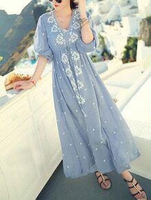 Blue V Neck Embroidered Drawstring Dress