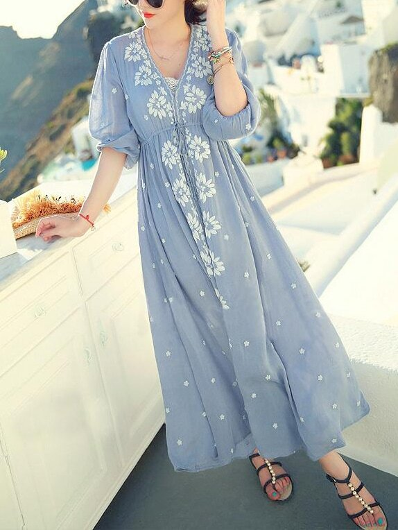 Blue V Neck Embroidered Drawstring Dress