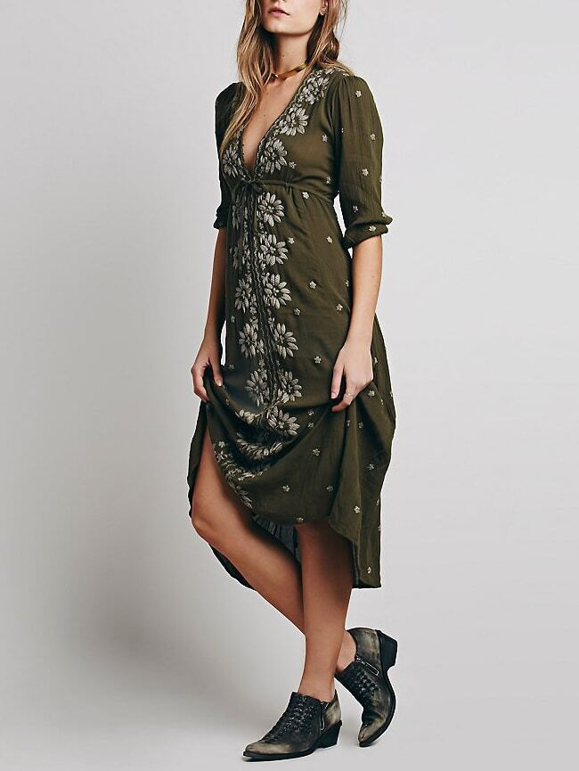 Army Green V Neck Embroidered Drawstring Dress