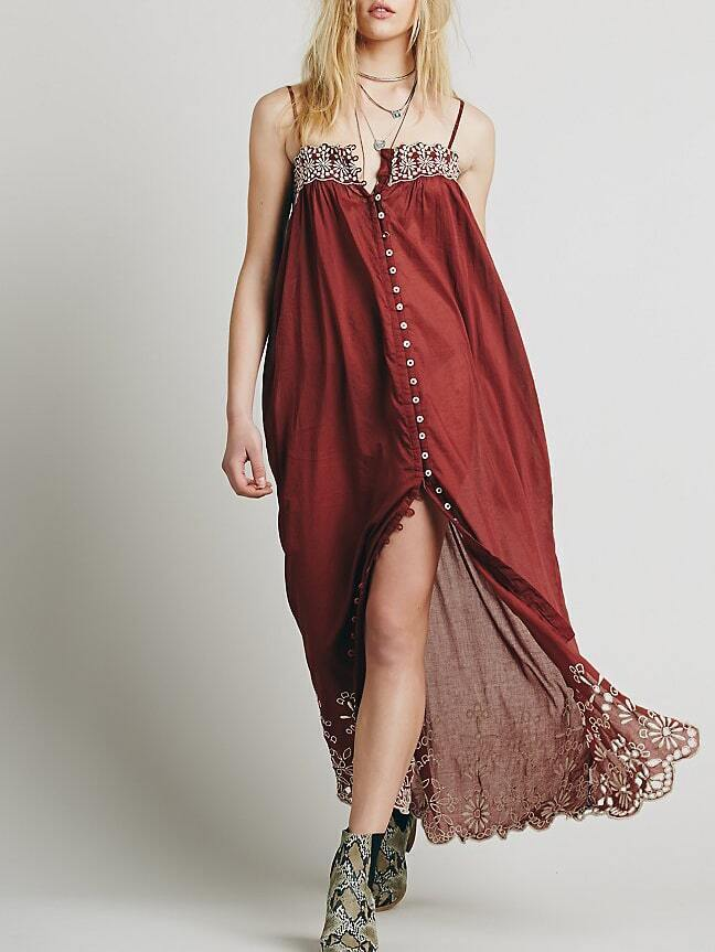 Burgundy Spaghetti Strap Embroidered Buttons Dress