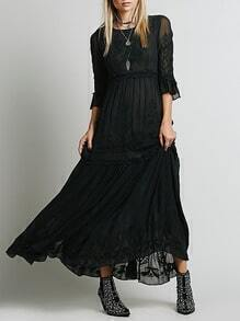 Black Bell Sleeve Embroidered Maxi Dress