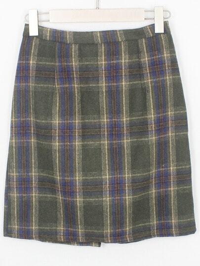 green blue plaid bodycon skirt shein sheinside