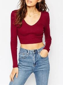 Burgundy V Neck Long Sleeve Crop T-Shirt