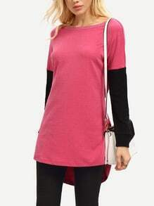 Pink Black Round Neck Color Block T-Shirt