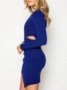 Blue Cut Out Bodycon Dress
