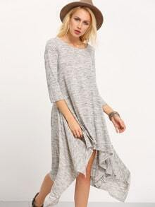 Grey Round Neck Asymmetric Dress