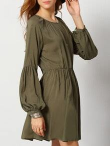Army Green V Neck Pleated Dress