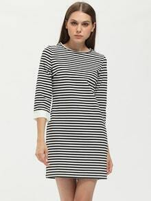 Black White Round Neck Striped Dress
