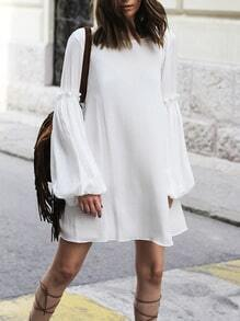 White Long Sleeve V Back Dress