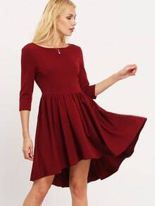 Burgundy Backless Flare Dress