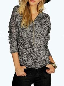 Grey V Neck Long Sleeve Zipper T-shirt