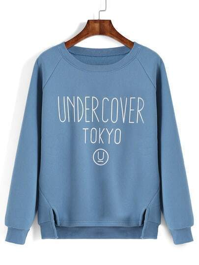 Blue Letter Print Slit High Low Sweatshirt