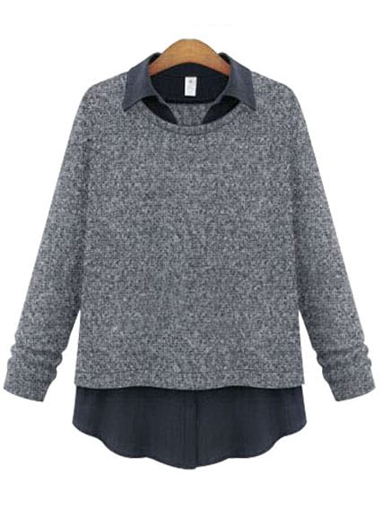 Grey Lapel Plus Blouse