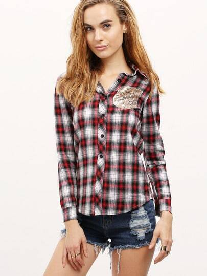 Red Lapel Plaid Sequined Pocket Blouse
