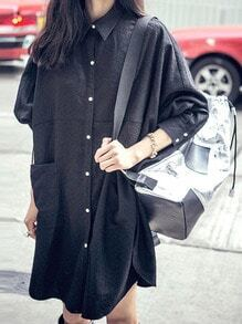 Black Lapel Buttons Pockets Shirt Dress