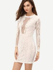 White Long Sleeve Hollow Lace Sheath Dress