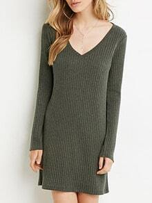 Green V Neck Sweater Dress