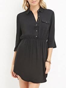Black Buttons Pocket Shirt Dress