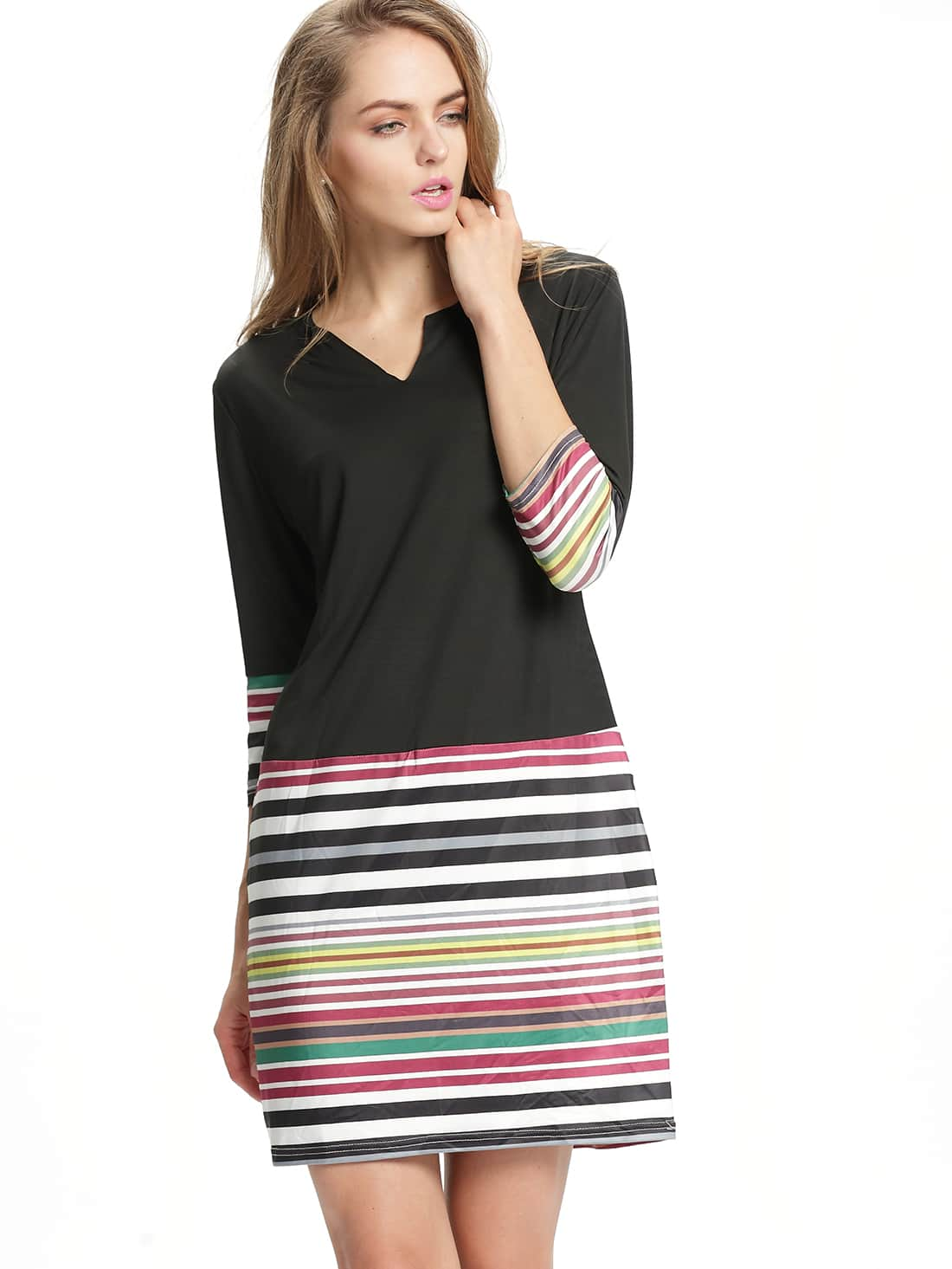 Black V Neck Striped Plus Dress