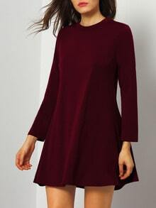 Burgundy Long Sleeve Shift Dress