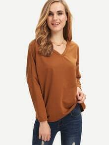 Coffee V Neck Loose T-Shirt