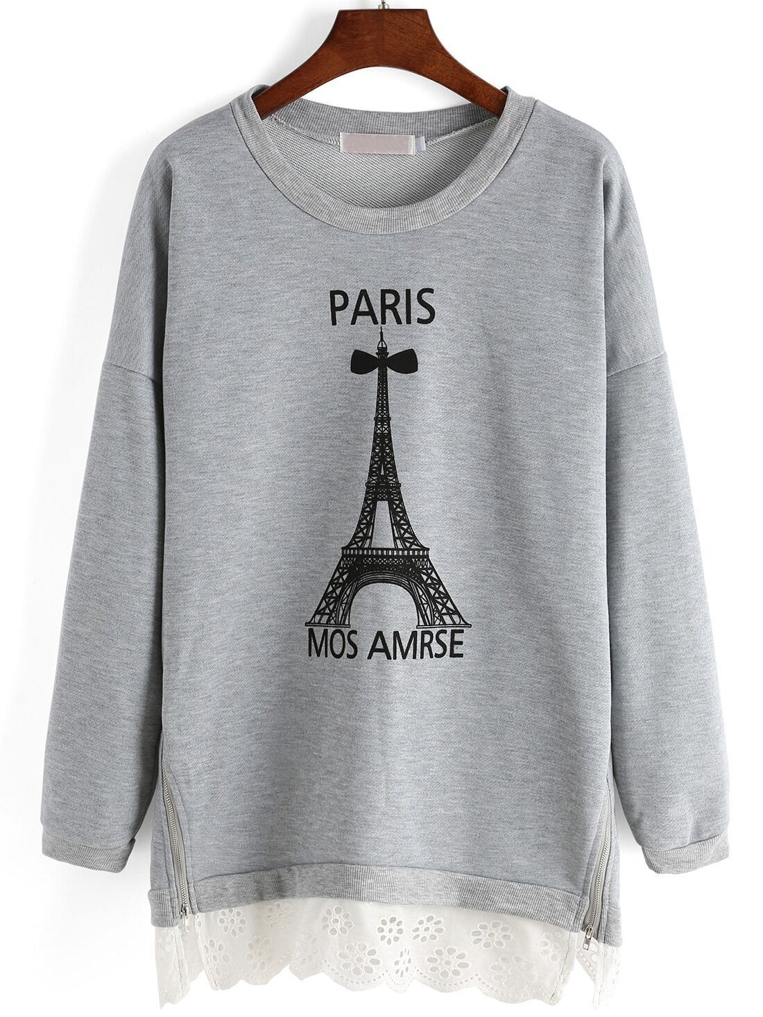 Grey Tower Print Zipper Plus Sweatshirt