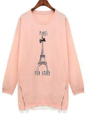 Pink Tower Print Zipper Plus Sweatshirt