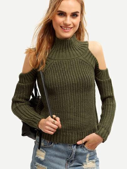 schulterfreier Pullover mit Rollkragen-armee grün