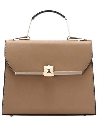 Apricot Metallic Embellished PU Bag