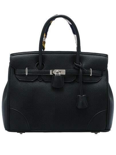 Black Zipper Belt Buckle PU Bag