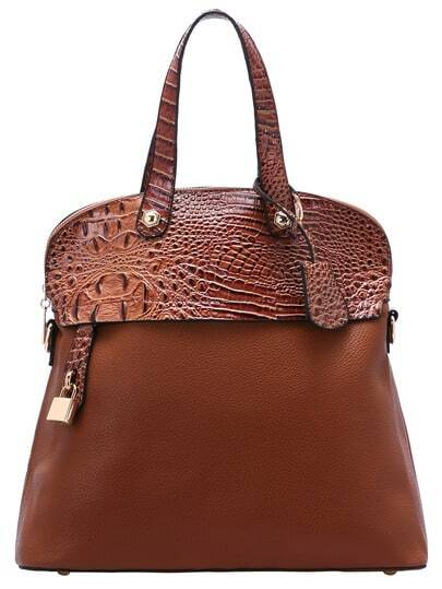 Brown Zipper Lock Embellished PU Bag pictures