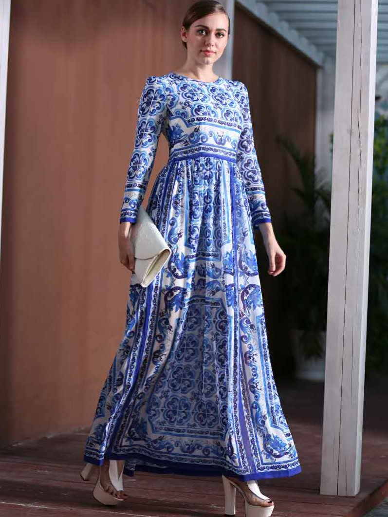 White and Blue Porcelain Round Neck Long Sleeve Dress