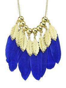 New Style Long Gold Plated Leaf Blue Statement Feather Necklace