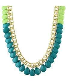 Green Bib Style Large Beads Chain Necklace