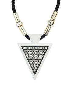 Black Rhinestone Triangle Pendant Necklace for Women