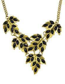 Black Gemstone Statement Leaf Necklace